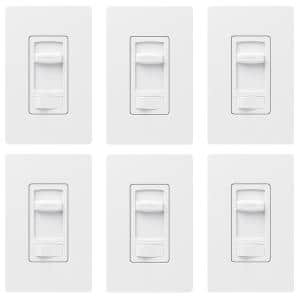Skylark Contour LED+ Dimmer Switch for Dimmable LED, INC/HAL Bulbs, Single-Pole or 3-Way, with Wallplate White (6-Pack)