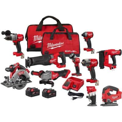 M18 FUEL 18-Volt Lithium-Ion Brushless Cordless Combo Kit (7-Tool) with Router, Jig Saw, and 18 Gauge Brad Nailer