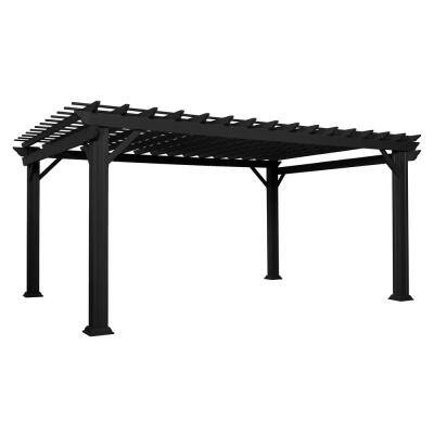 Stratford 16 ft. x 12 ft. Black Steel Traditional Pergola