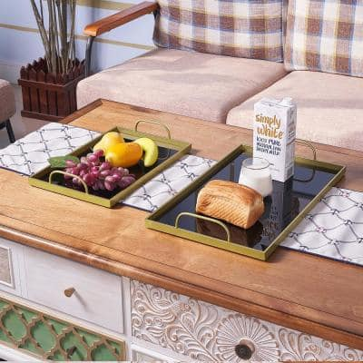 2-Pieces Black Food Serving Trays with Handles and Decorative Glass Trays Gold Metal Finish for Coffee Table