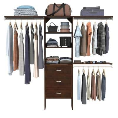 Style+ 73.12 in. W - 121.12 in. W Chocolate Basic Floor Mount Closet Kit with Top Shelves and Shaker Drawers