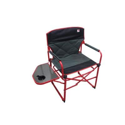 Heavy-Duty Compact Folding Camping Director Chair with Side Table and Carry Bag