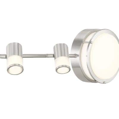 3.44 ft. Brushed Nickel Integrated LED Track Lighting Kit with Flush Mount Ceiling Light and 4-Rotating Track Heads
