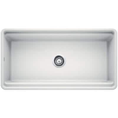 PROFINA Farmhouse Apron-Front Fireclay 36 in. Single Bowl Kitchen Sink with Beechwood Cutting Board in White