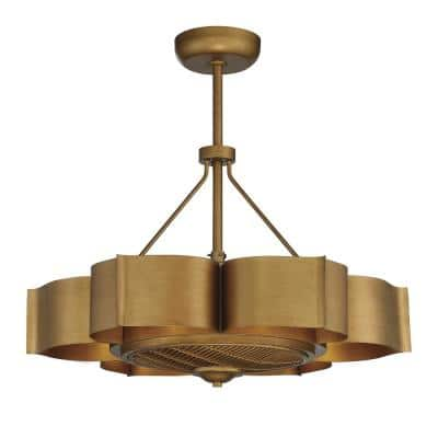 31 in. Gold Patina Ceiling Fan with Light