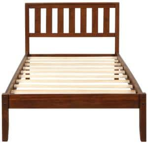 Walnut Color Twin Size Wood Platform Bed with Headboard and Wood Slat Support