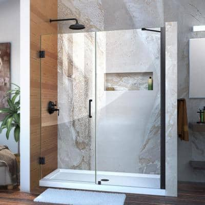 Unidoor 56 to 57 in. x 72 in. Frameless Hinged Shower Door in Satin Black