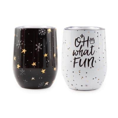 12 oz. Insulated Oh What Fun Wine Stainless Steel Tumblers (Set of 2)