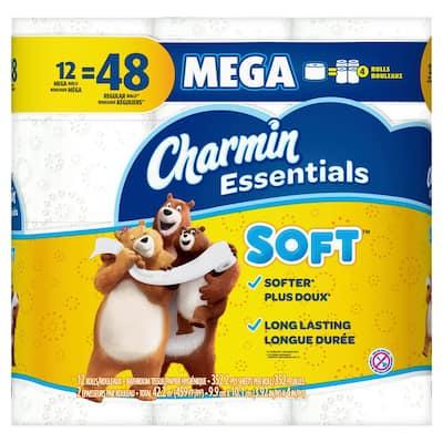 Essentials Soft Toilet Paper (12-Mega Rolls)