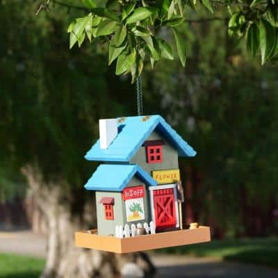 9 in. Tall Outdoor Hanging Colorful Bird Feeder, Flower Shop