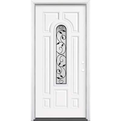 36 in. x 80 in. Pergola Center Arch Left Hand Inswing Primed Steel Prehung Front Exterior Door with Brickmold