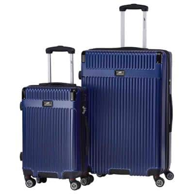 Oxford Collection Navy ABS+PC Expandable 2-Piece Luggage Set (20 in. + 24 in.)