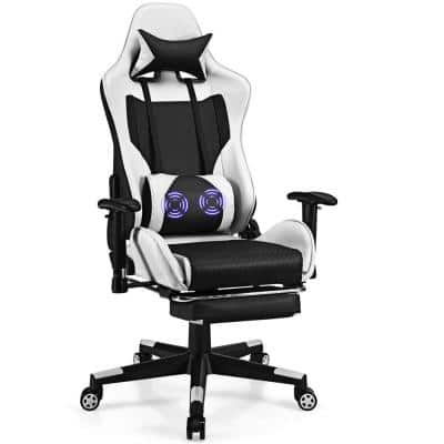 White Iron Reclining Gaming Chairs with Adjustable Arms