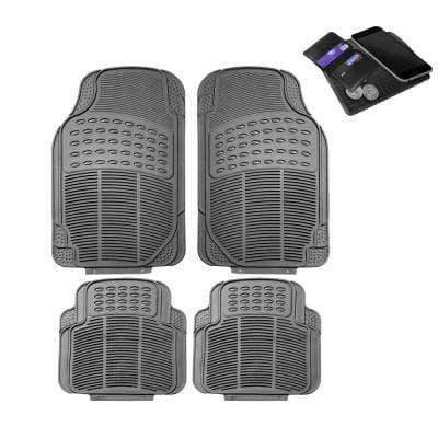 Fh Group 29 In X 18 In X 2 In Durable Heavy Duty Rubber Car Floor Mats 4 Pieces Dmf11305gray The Home Depot