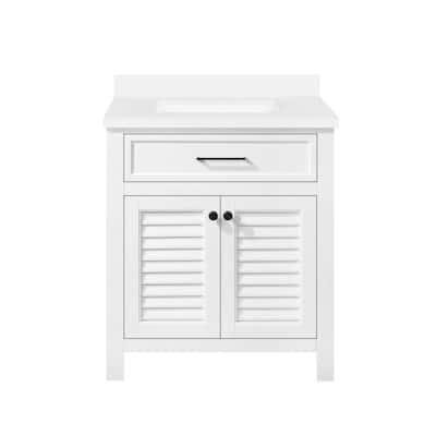 Marksfield 24 in. W x 22 in. D Bath Vanity in White with Cultured Stone Vanity Top in White with White Basin