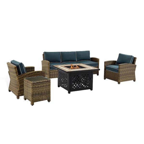 Crosley Bradenton 5 Piece Wicker Patio Fire Pit Conversation Set With Navy Cushions Ko70163 Nv The Home Depot