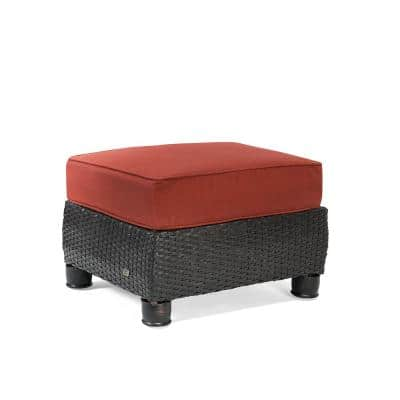 Breckenridge Wicker Outdoor Ottoman with Sunbrella Meredian Brick Cushion