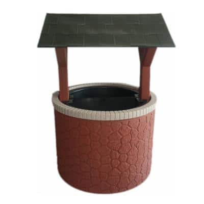 Wishing Well Septic, Well, Lawn and Garden Enclosure Cover - Brick Base with Green Roof