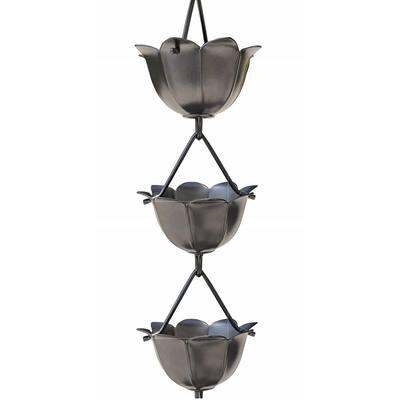 8-1/2 ft. L Pewter Aluminum Lotus Rain Chain
