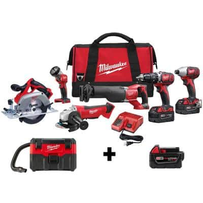 M18 18-Volt Lithium-Ion Cordless Combo Tool Kit (6-Tool) w/ Wet/Dry Vacuum and Additional 5.0Ah Battery