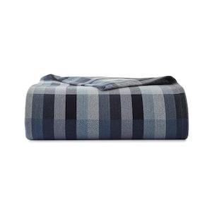 Windsor Stripe Blue Cotton Blanket, Full/Queen