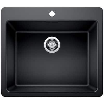 Drop-in/Undermount Granite Composite 25 in. Single Bowl Kitchen Sink in Black