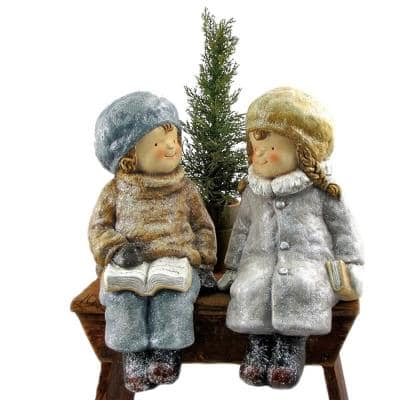 Holiday Children Figurine with Christmas Tree