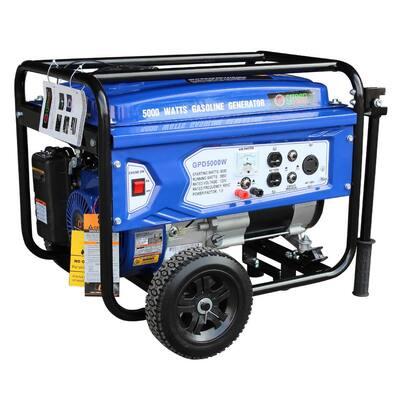 Green Power 5000/3850-Watt Gasoline Powered Recoil Start Portable Generator with 223cc 7.5HP LCT Engine