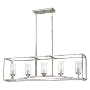 Grovewood 5-Light Brushed Nickel Chandelier with Glass Shades