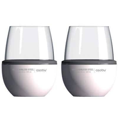 2-Piece White Insulated Wine Kuzie