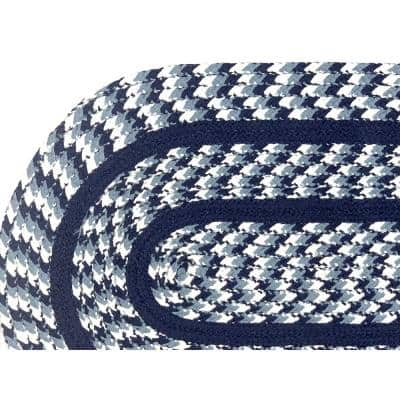 Crecent Braid Collection is Durable and Stain Resistant Reversible Navy 42 in. x 66 in. Oval Polypropylene Area Rug