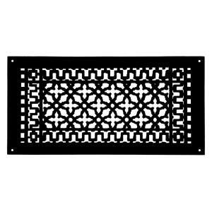 Scroll 20 in. x 9 in. Cast Iron Grille with Mounting Holes, Black