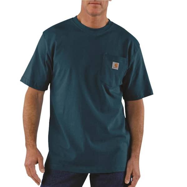 Carhartt Men S Regular Xxxx Large Stream Blue Cotton Short Sleeve T Shirt K87 984 The Home Depot