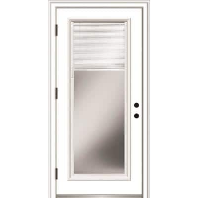 36 in. x 80 in. Internal Blinds Right Hand Outswing Full Lite Clear Low-E Primed Steel Prehung Front Door w/ Brickmould
