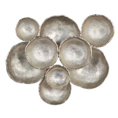 Abstract Round Silver Metal Wall Decor 24 in. x 20 in.