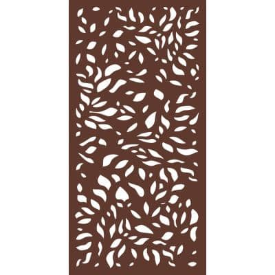 6 ft. x 3 ft. Espresso Brown Decorative Composite Fence Panel in the Botanical Design