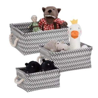 13 in. x 6 in. Dark Gray Nestable PP Weave Storage Baskets (3-Pack)