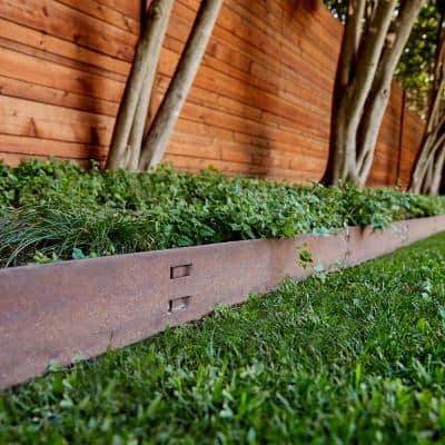 4 ft. x 14-Gauge x 4 in. Brown Steel Landscaping Edging