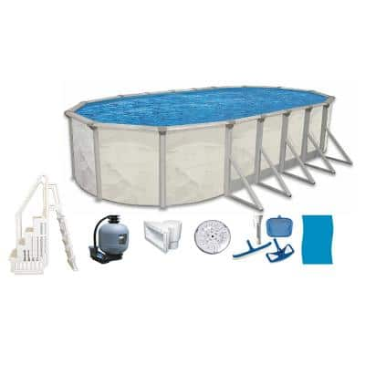 Independence 16 ft. x 32 ft. Oval 52 in. D Metal Wall Above Ground Hard Side Pool Package with Entry Step System