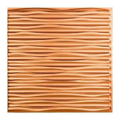 Dunes Horizontal 2 ft. x 2 ft. Glue Up Vinyl Ceiling Tile in Polished Copper (20 sq. ft.)
