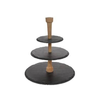 3-Tier Slate and Oak Cheese Party Tower
