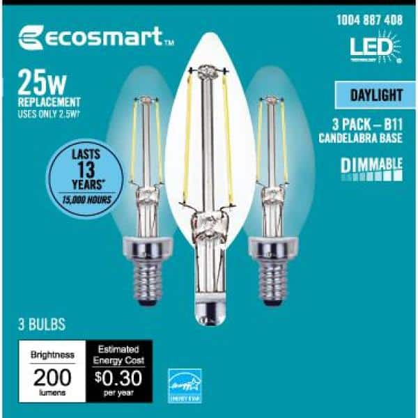 Ecosmart 25 Watt Equivalent B11 Candle Dimmable Energy Star Clear Glass Filament Vintage Led Light Bulb Daylight 3 Pack Fg 04066 The Home Depot