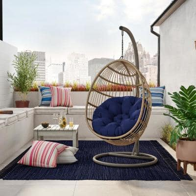 6.2 ft. Wicker Outdoor Free Standing Egg Swing Chair Hammock with Stand and Navy Blue Cushions