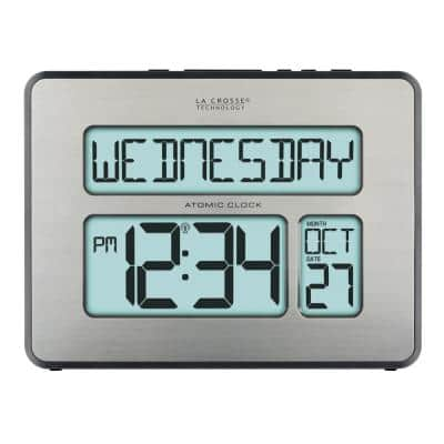 Atomic Full Calendar Brushed Silver Digital Clock with Extra Large Digits & Backlight - Perfect Gift for the Elderly