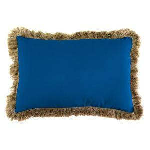 Sunbrella 19 in. x 12 in. Canvas Navy Lumbar Outdoor Throw Pillow with Heather Beige Fringe