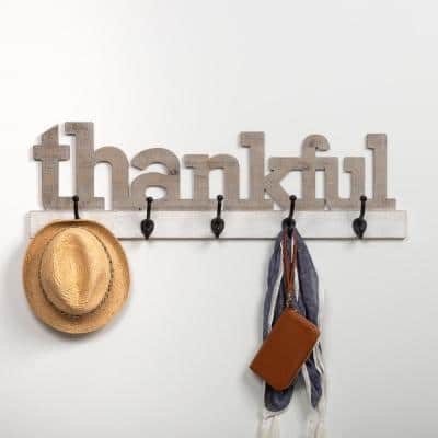 Rustic Thankful Gray Wood Decorative Sign with Hooks
