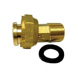 3/4 in. NPT Brass Water Meter Coupling Complete with Gasket, 2-1/2 in. L with 1 in. NPSM