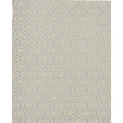 Jubilant Ivory/Blue 8 ft. x 10 ft. Moroccan Farmhouse Area Rug