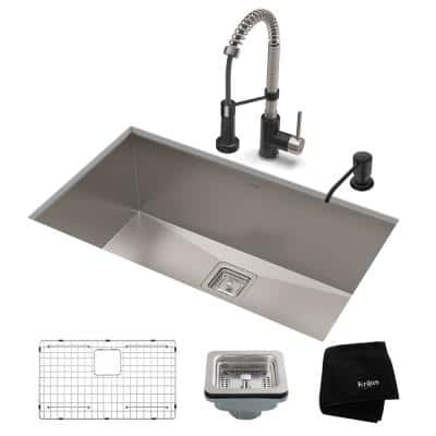 Pax All-in-One Undermount Stainless Steel 28 in. Single Bowl Kitchen Sink with Faucet in Stainless Steel Matte Black