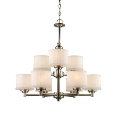 Cahill 9-Light Brushed Nickel Tiered Chandelier with Frosted Glass Shades